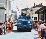 TIN, prvi hrvatski oklopni transporter izlazi iz dugoratske tvornice Dalmacija 11.srpnaj 1991.