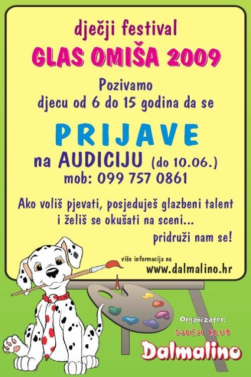 """Dječji klub """"Dalmalino"""" organizira Dječji festival """"GLAS OMIŠA 2009"""""""