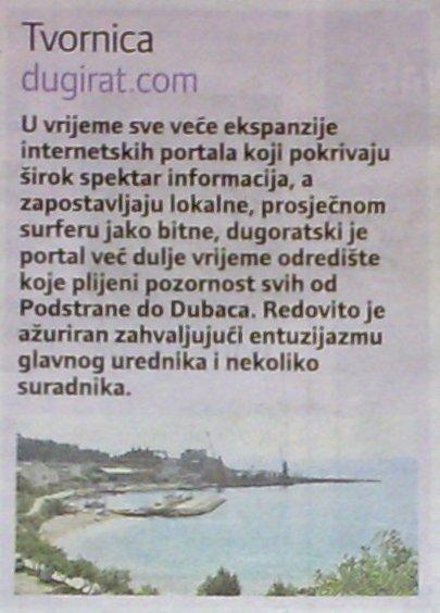 Dugirat.com u Slobodnoj Dalmaciji