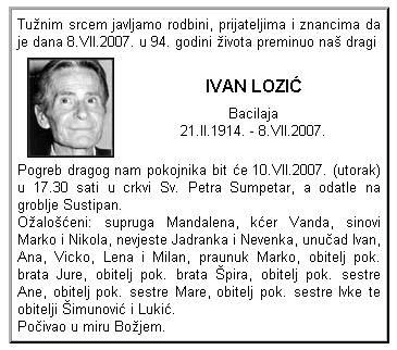 Osmrtnica - Ivan Lozić Bacilaja